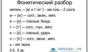 Фонетический разбор слова «метель»