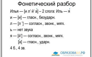 Фонетический разбор слова «Илья»