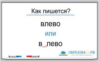 Как пишется «влево» или «в лево»