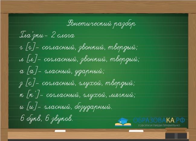 """Разбор слова """"глазки"""" на буквы и звуки"""