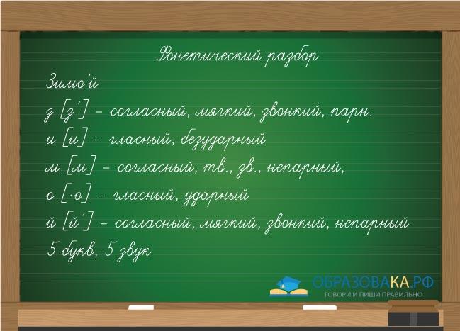"""Пример фонетического разбора слова """"зимой"""""""