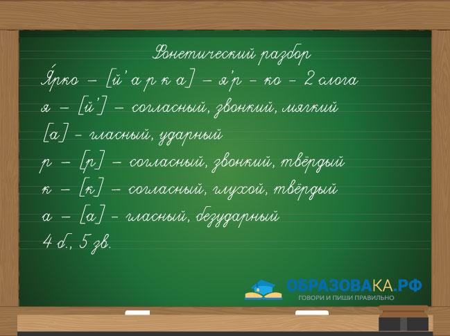 фонетический разбор слова ярко